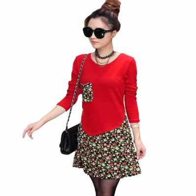 Fashion Women Jersey Dress Floral Print Pullover Fake Two Piece Long Sleeve Round Neck Stretchy Knit Dress (Red)