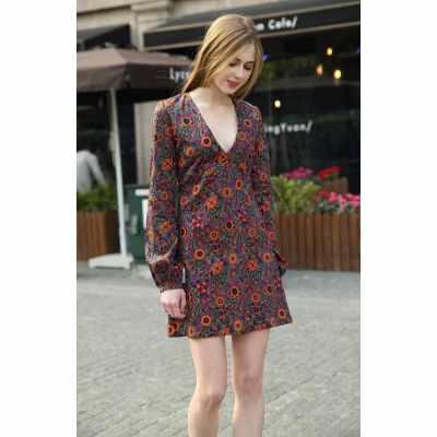 New Fashion Women Retro Dress Floral Pattern Print Deep V-neck Lantern Sleeve Casual Lady Dress Orange (Orange)