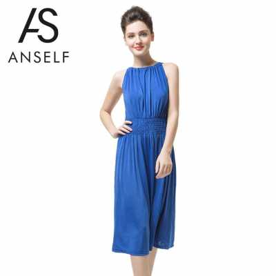 New Fashion Women Sleeveless Dress Slash Neck Drawstring Fold Split Sexy Dress Blue (Blue)