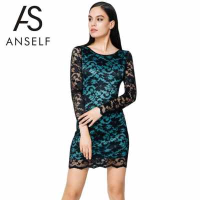Sexy Women Lace Dress Round Neck Full Sleeves Backless Club Party Wear Bodycon Dress Blue (Blue)