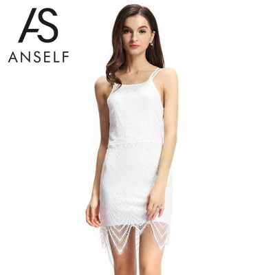 New Sexy Women Bodycon Dress Lace Overlay Adjustable Strap Tie Back Open Back Party Mini Dress White (White)