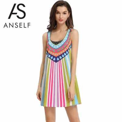 Women Tank Mini Dress Printing Sundress Summer Beach Shift Dress Sleeveless Round Neck Blue (Blue)