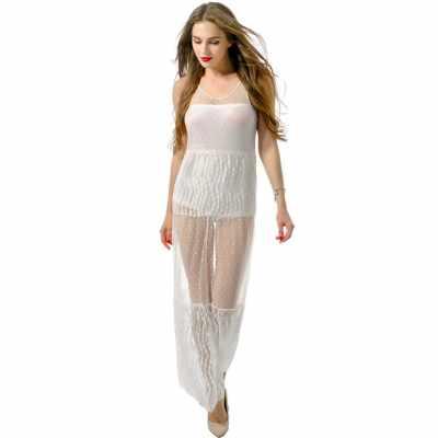 Sexy Women Maxi Dress Mesh Lace V Neck Sleeveless Long Boho Beachwear Semi-sheer Tank Dress White (White)