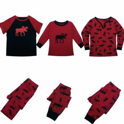Men Christmas Family Look Pajama Reindeer Family Matching Outfit Father Mother Kid Sleepwear Nightwear T-Shirt Pants Set Red (Red)