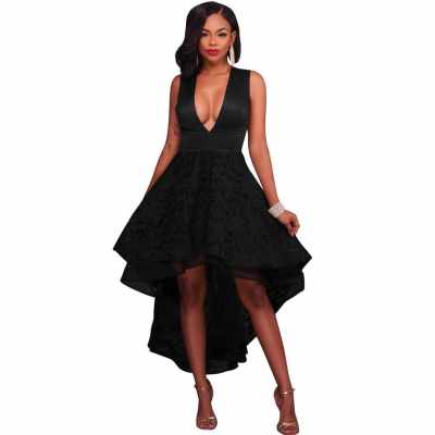 Women High Low Hem Evening Dress Embroidered Lace Deep V-Neck Sleeveless Cocktail Party Prom Gowns Dress (Black)