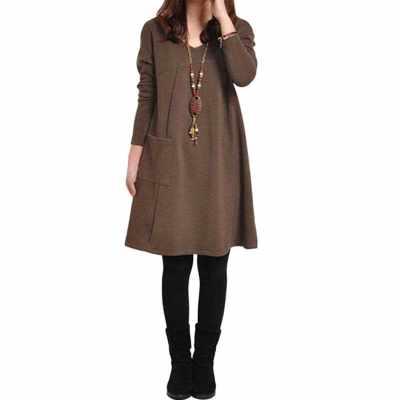 Autumn Winter Women Dress Plus Size Long Sleeves Pockets Solid V Neck Loose Dress (Coffe)