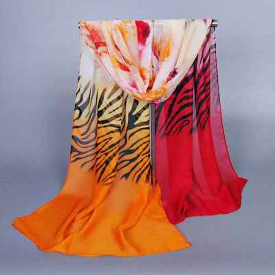 Anself Charming Contrast Color Zebra Flower Print Colorful Long Shawl Pashmina Scarf (Red)