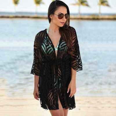New Women Kimono Cardigan Solid Open Front Boho Loose Outerwear Beach Bikini Cover Up Black (Bl)
