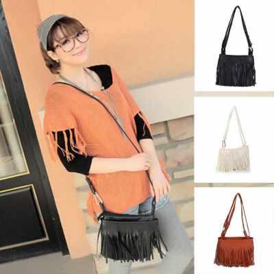 New Fashion Women Mini Shoulder Bag PU Leather Tassel Fringe Satchel Crossbody Messenger Bag (Black)