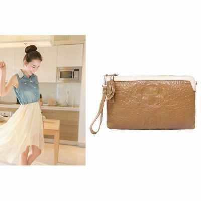 Luxury Women Clutch Bag Crocodile Pattern Genuine Leather Shoulder Chain Messenger Bag Purse (Orange)