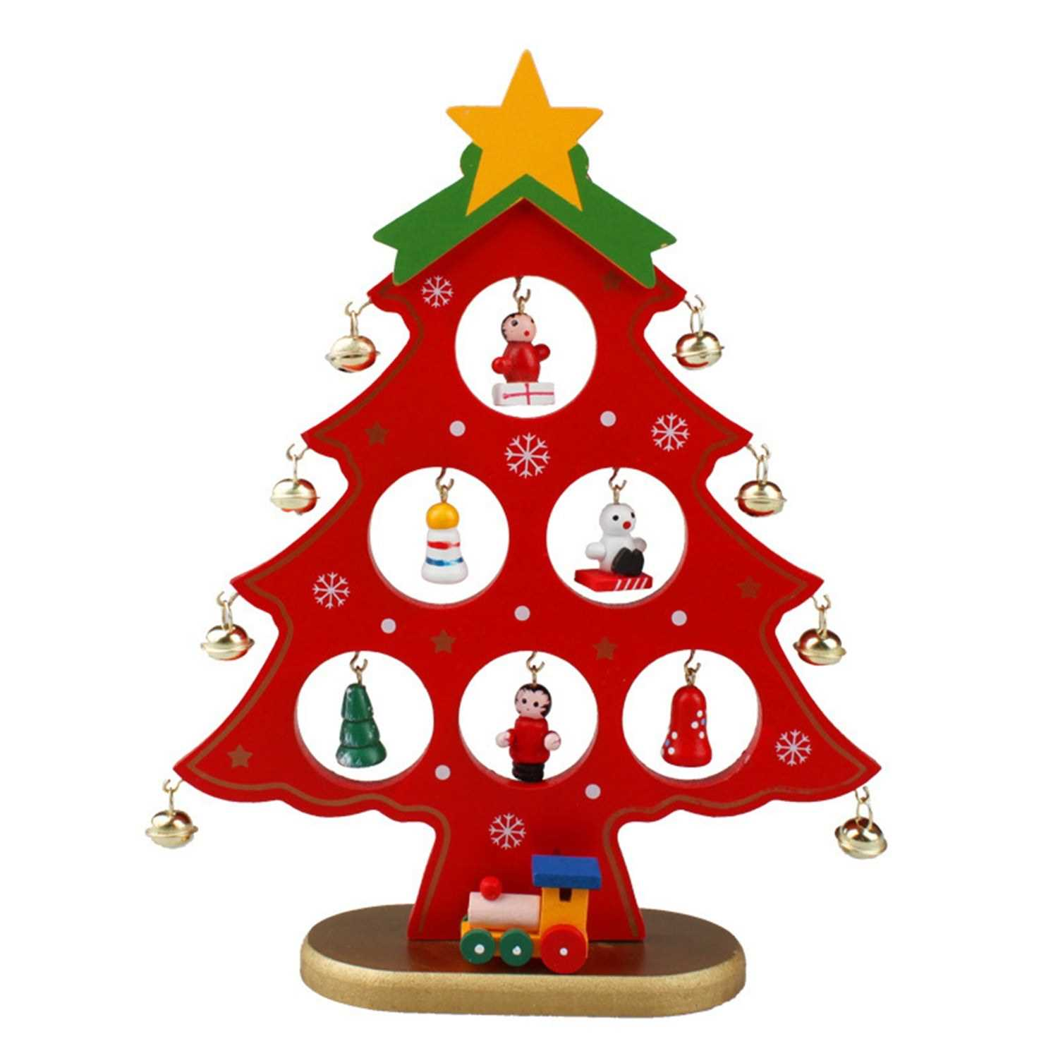 8 66 Inch Christmas Tree With Hanging Decorations Decorative Wooden Xmas Tree Hanging Ornaments For Indoor Outdoor Garden Patio Backyard Party Decor Red