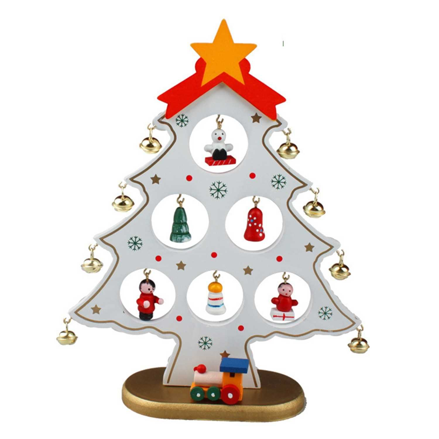 8 66 Inch Christmas Tree With Hanging Decorations Decorative Wooden Xmas Tree Hanging Ornaments For Indoor Outdoor