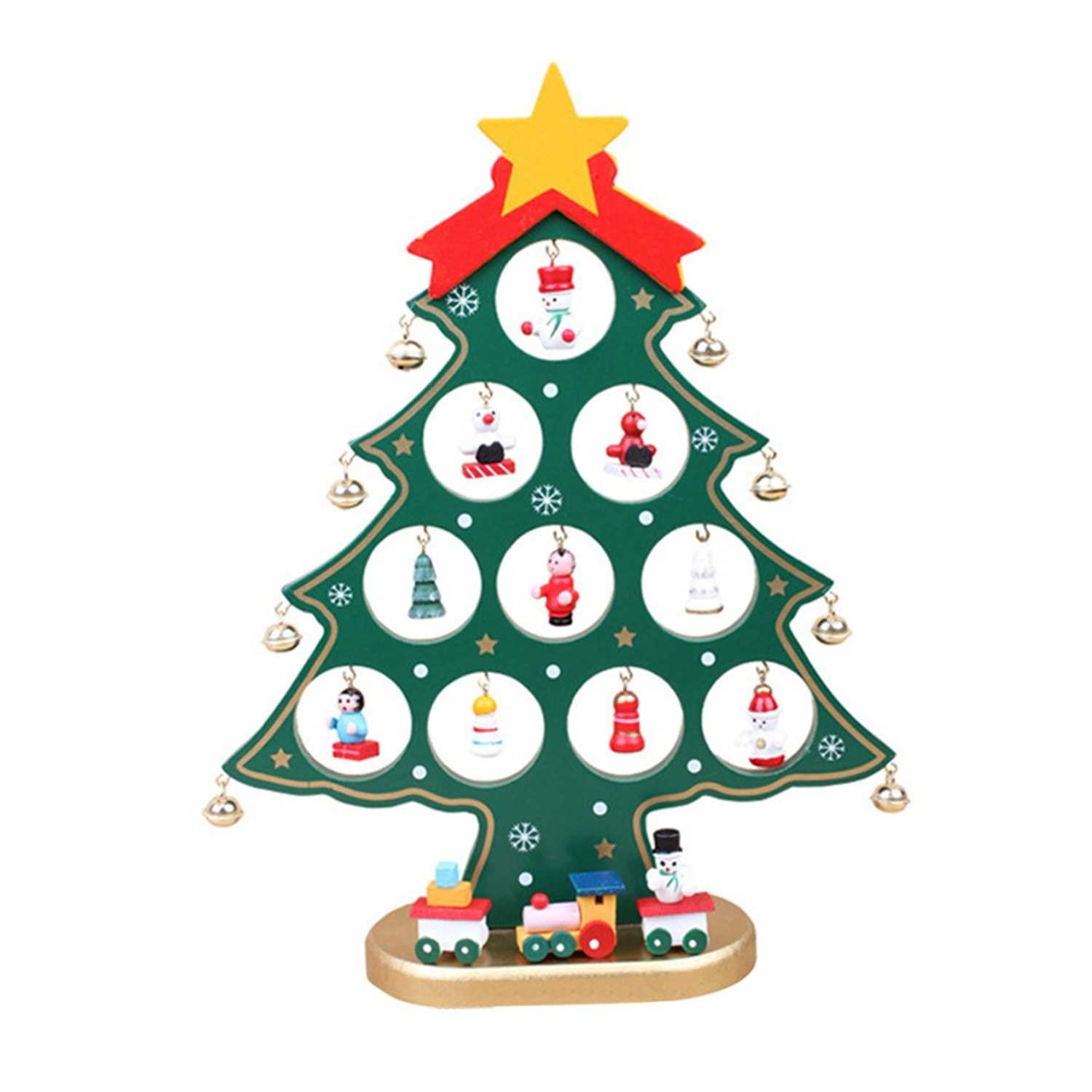 10 62 Inch Christmas Tree With Hanging Decorations Decorative Wooden Xmas Tree Hanging Ornaments For Indoor Outdoor Garden Patio Backyard Party Decor Green
