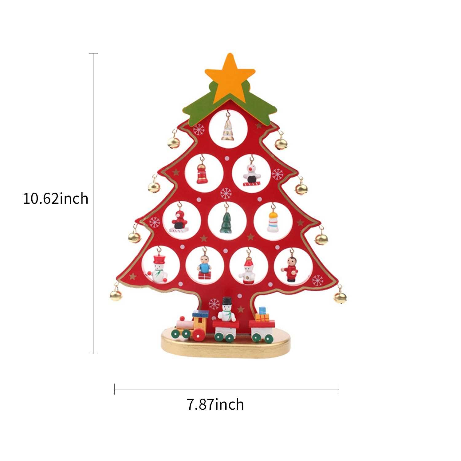 10 62 Inch Christmas Tree With Hanging Decorations Decorative Wooden Xmas Tree Hanging Ornaments For Indoor Outdoor