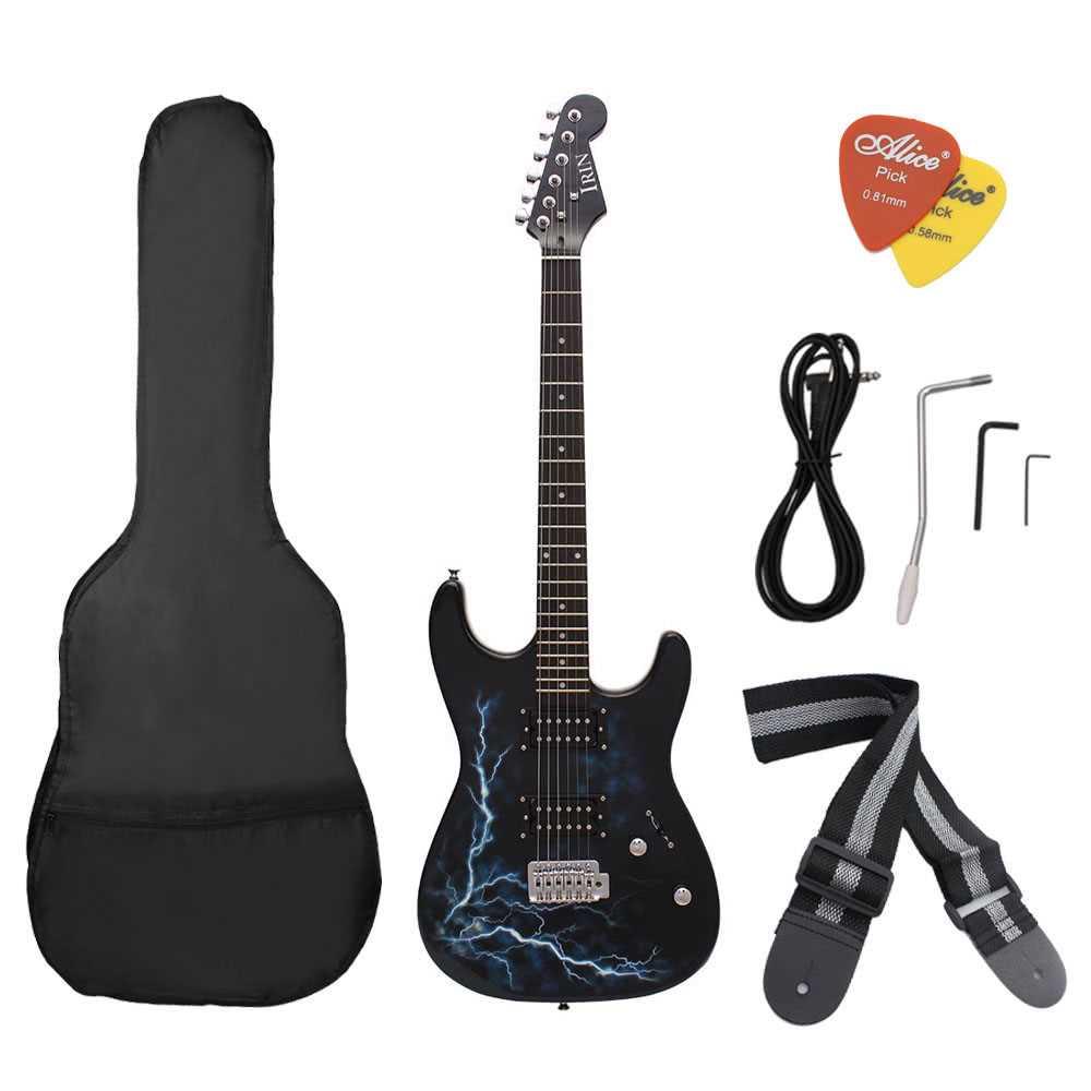 [ MANHATTAN ] Dual Dual Pickups Electric Guitar Basswood Body Rosewood Fingerboard Cool Lightning Design with Gig Bag Picks Strap for Beginner (Black) Malaysia