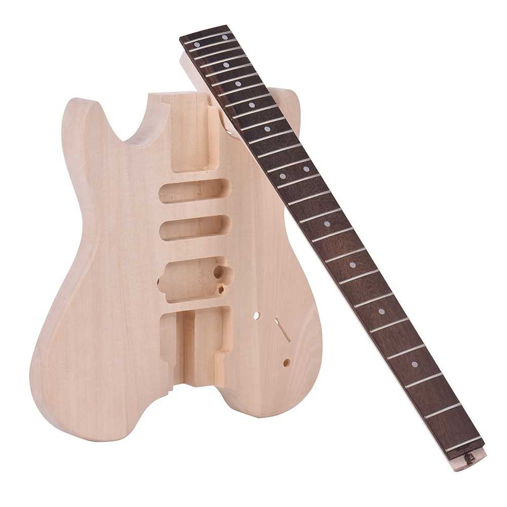 [ MANHATTAN ] ammoon Unfinished DIY Electric Guitar Kit Basswood Body Rosewood Fingerboard Maple Neck Special Design Without Headstock Malaysia