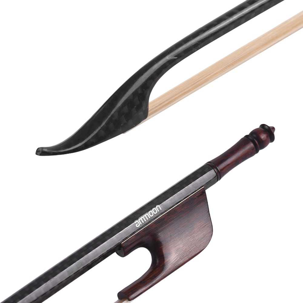 [ MANHATTAN ] ammoon Baroque Style 4/4 Violin Fiddle Bow Carbon Fiber Round Stick Snakewood Frog White Horsehair Well Balanced Malaysia
