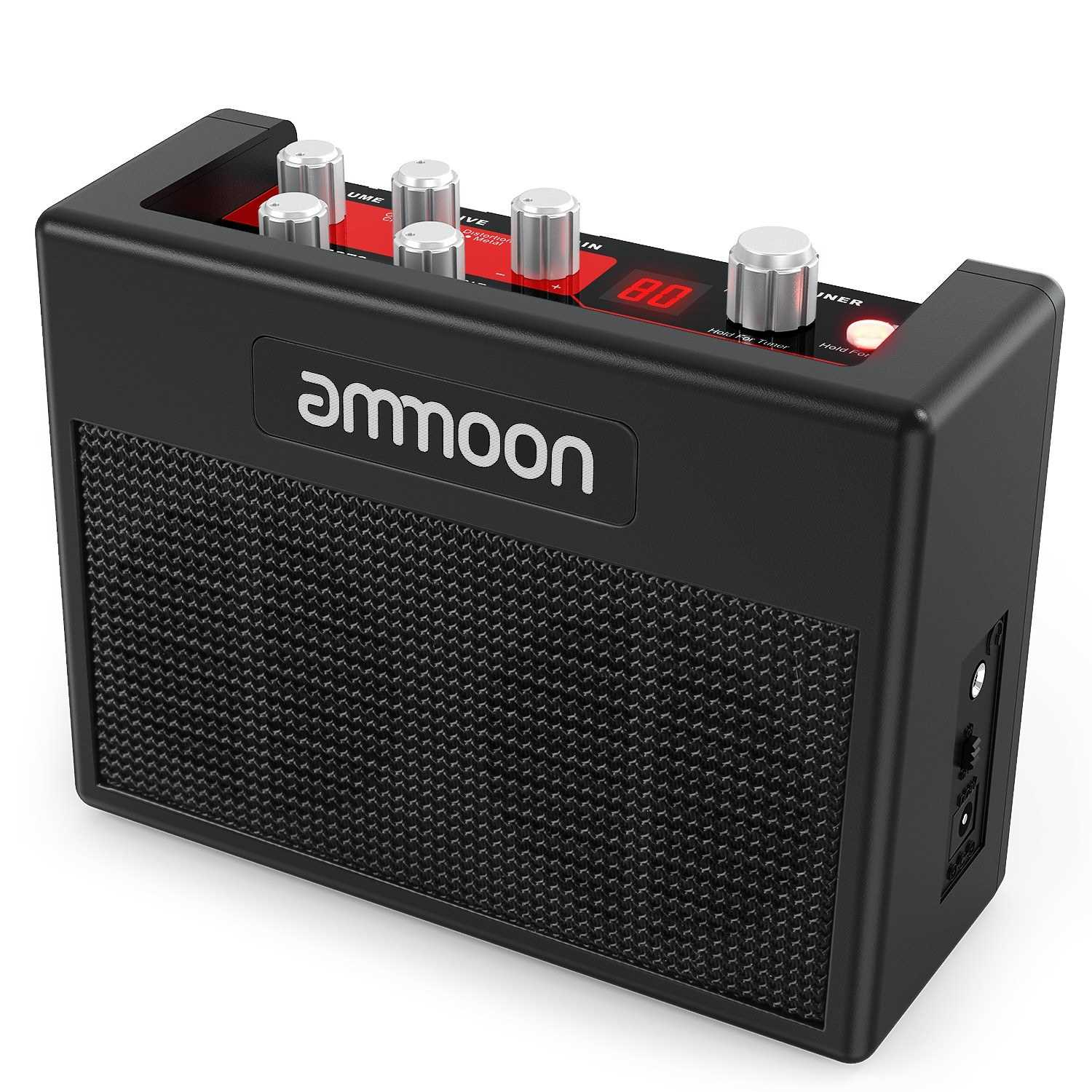 [ MEG.CQ ] ammoon POCKAMP Portable Guitar Amplifier Amp Built-in Multi-effects 80 Drum Rhythms Support Tuner Tap Tempo Functions with Aux Input Headphone Output, Power adapter included (Eu) Malaysia