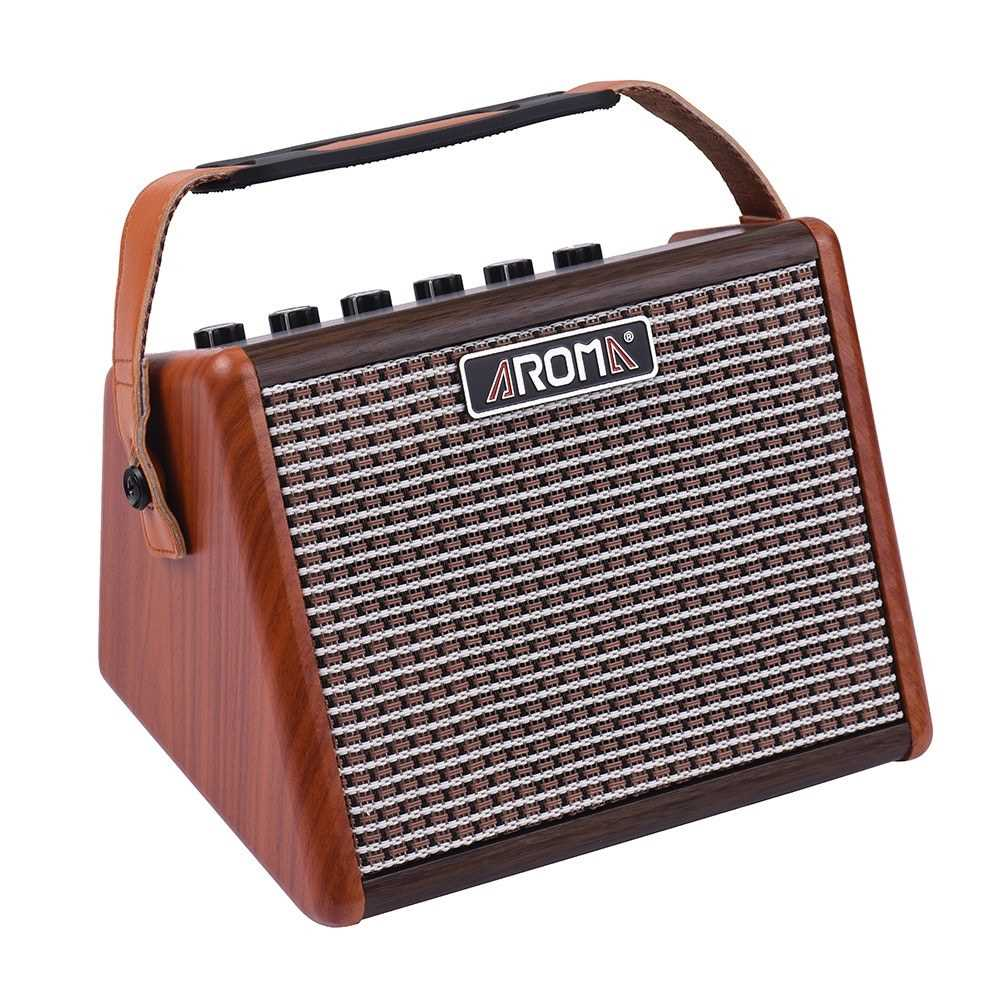 [ MANHATTAN ] AROMA AG-15A 15W Portable Acoustic Guitar Amplifier Amp BT Speaker Built-in Rechargeable Battery with Microphone Interface (Standard) Malaysia