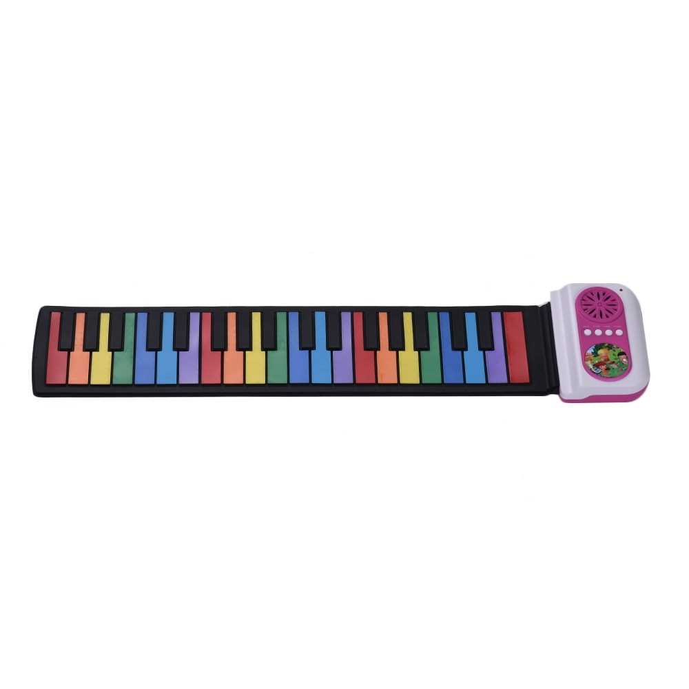 [ MANHATTAN ] 37-Key Portable Roll-Up Piano Silicon Electronic Keyboard Colorful Keys Built-in Speaker Musical Toy for Children Kids (Pink) Malaysia