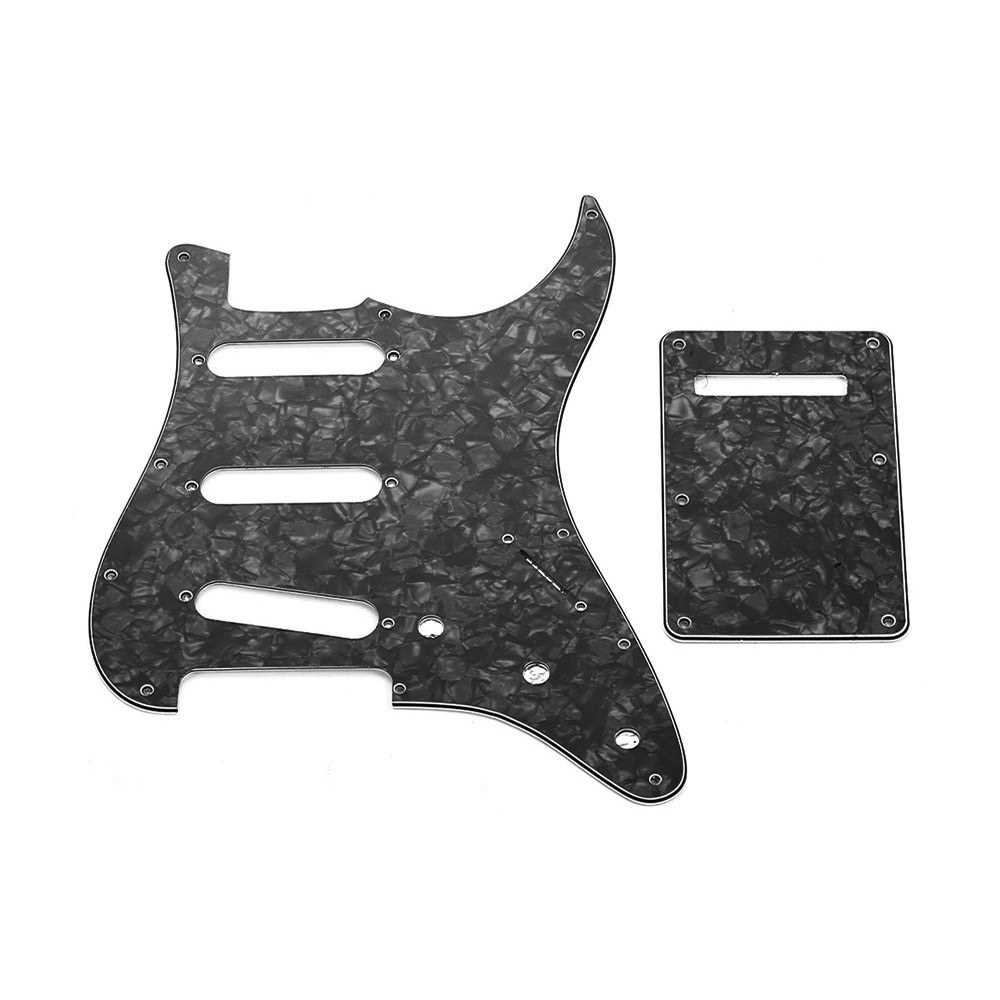 [ MANHATTAN ] SSS Electric G3 Ply SSS Electric Guitar Pickguard Set with Back Plate Screws Pick Guard for American ST Style Guitars Black Pearl (Black) Malaysia