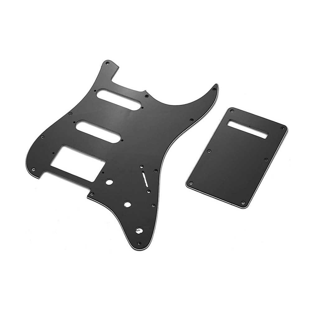 [ MANHATTAN ] Black 3Ply SSH Guitar Pickguard Scratch Plate and Back Plate Set for American ST Style Electric Guitar (Black) Malaysia