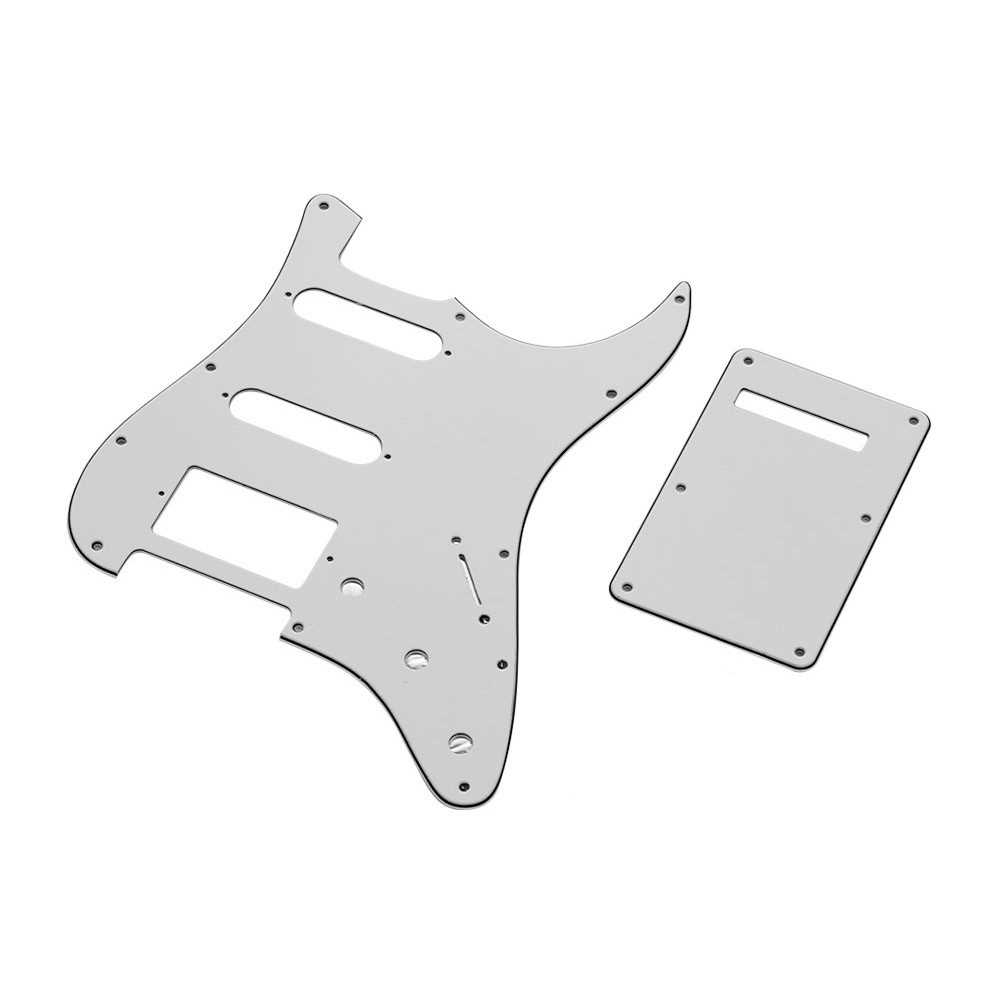 [ MANHATTAN ] White 3Ply SSH Guitar Pickguard Scratch Plate and Back Plate Set for American ST Style Electric Guitar (White) Malaysia