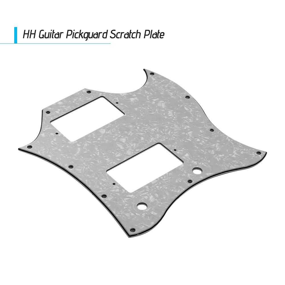 [ MANHATTAN ] PVC HH Guitar Pickguard Scratch Plate for SG Electric Guitars White Pearl (Pearl White) Malaysia
