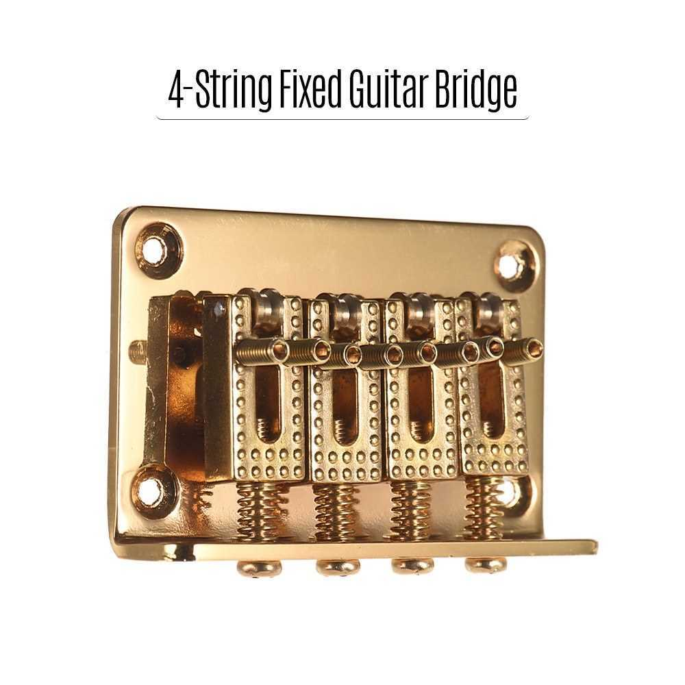 4-String Fixed Guitar Bridge Hardtail Bridges Saddles with Screws and Wrench Replacement Parts for Ukulele Cigarbox Electric Guitars Gold (Gold) Malaysia