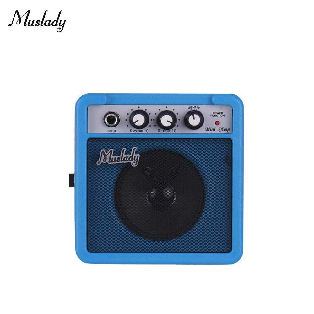 [ MEG.CQ ] Muslady 5W Mini Guitar Amplifier Amp Speaker with 3.5mm & 6.35mm Inputs 1/4 Inch Output Supports Volume Tone Adjustment Overdrive (Blue) Malaysia