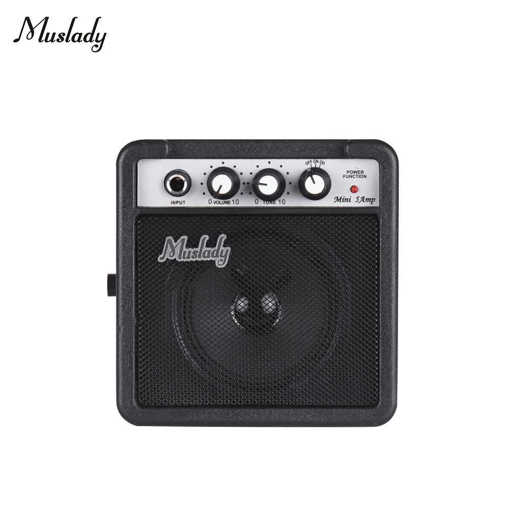 [ MEG.CQ ] Muslady 5W Mini Guitar Amplifier Amp Speaker with 3.5mm & 6.35mm Inputs 1/4 Inch Output Supports Volume Tone Adjustment Overdrive (Black) Malaysia