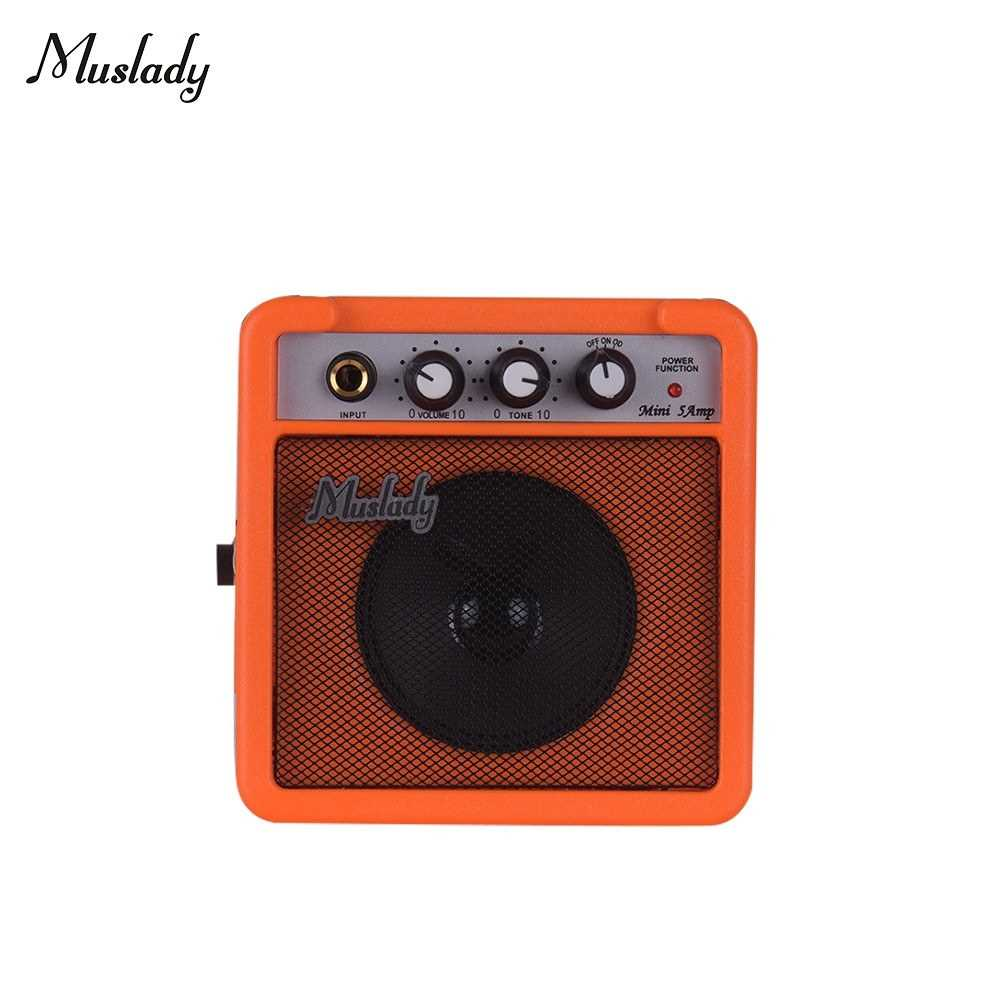 [ MEG.CQ ] Muslady 5W Mini Guitar Amplifier Amp Speaker with 3.5mm & 6.35mm Inputs 1/4 Inch Output Supports Volume Tone Adjustment Overdrive (Orange) Malaysia