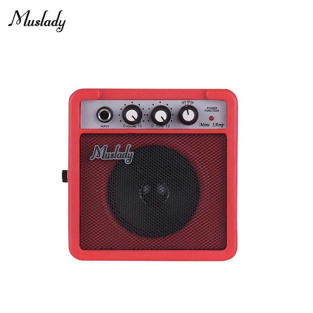 [ MEG.CQ ] Muslady 5W Mini Guitar Amplifier Amp Speaker with 3.5mm & 6.35mm Inputs 1/4 Inch Output Supports Volume Tone Adjustment Overdrive (Red) Malaysia