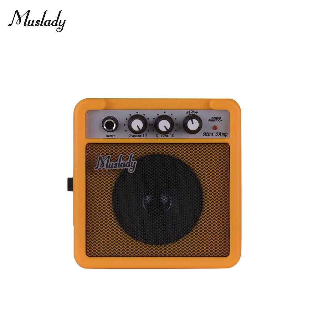 [ MEG.CQ ] Muslady 5W Mini Guitar Amplifier Amp Speaker with 3.5mm & 6.35mm Inputs 1/4 Inch Output Supports Volume Tone Adjustment Overdrive (Yellow) Malaysia