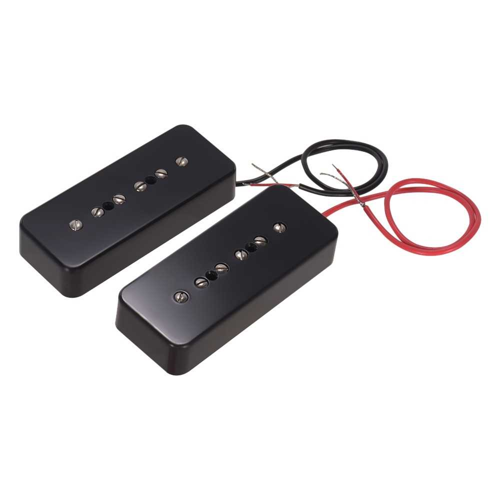 [ MANHATTAN ] Single Coil Pickups for P90 Soapbar Electric Guitar Neck & Bridge Pickups Guitar Parts Accessories, Pack of 2pcs(50mm+52mm) (Black) Malaysia