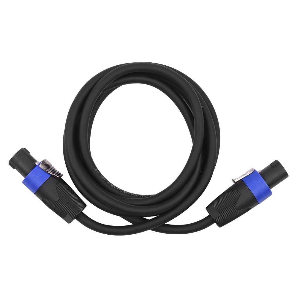 [ MEG.CQ ] 12AWG Stage Mixer Cables Audio Amplifier Cord Speaker Connector Male to Male Four Core Oxygen Free Copper Conductor NL4FC Black 2m (Black) Malaysia