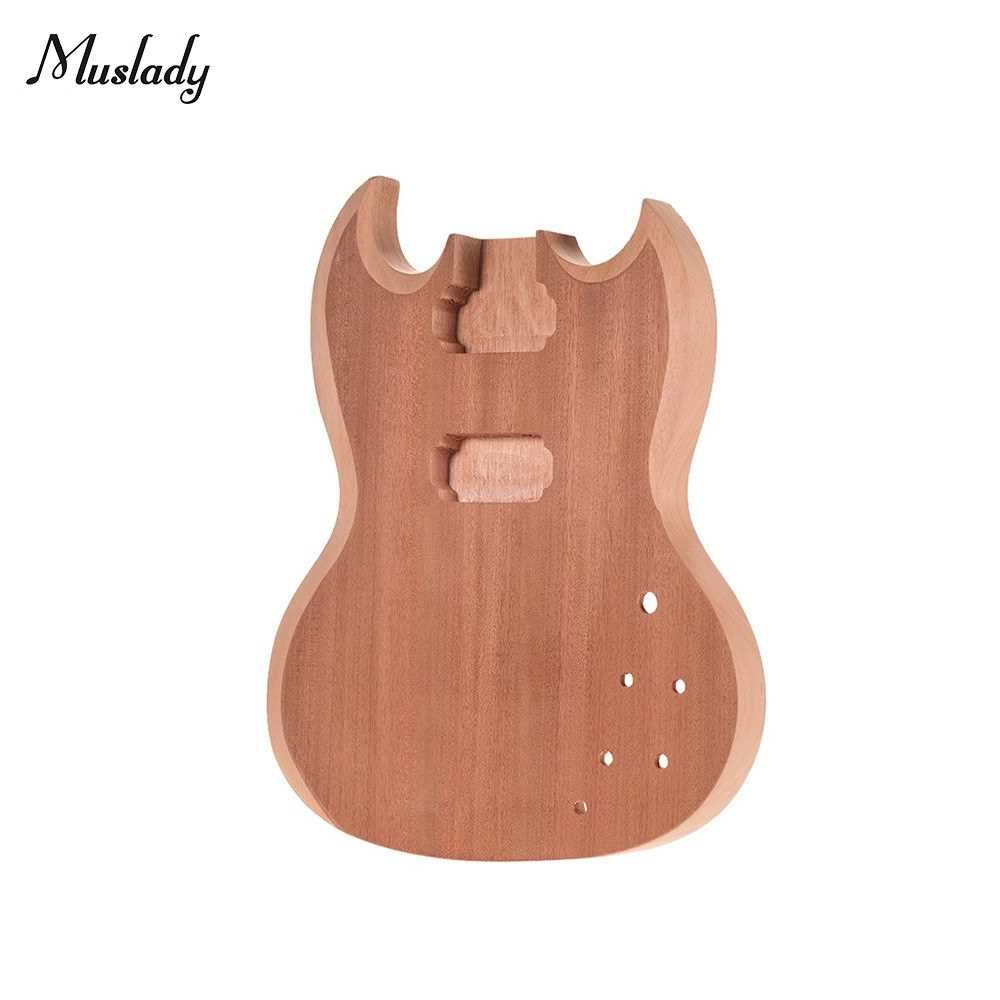 [ MANHATTAN ] Muslady SG-T1 Unfinished Guitar Body Mahogany Wood Blank Guitar Barrel for SG Style Electric Guitars DIY Parts (Standard) Malaysia
