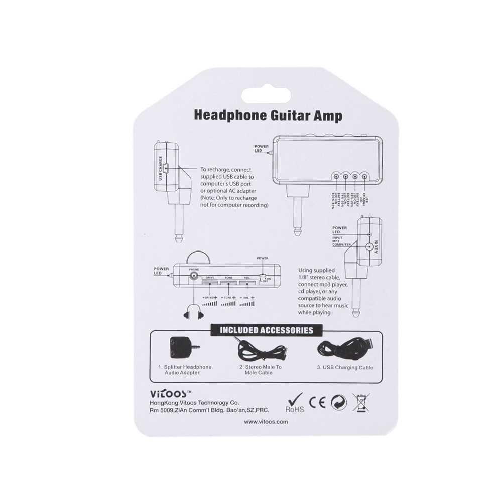 [ MEG.CQ ] Vitoos Electric Guitar Plug Mini Headphone Amp Amplifier Marshall Plexi Sound Compact Portable (Black) Malaysia