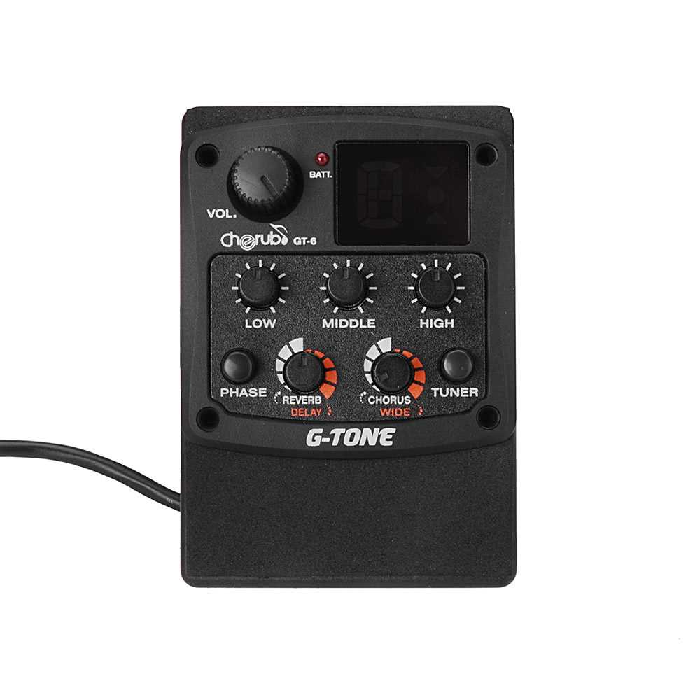[ MANHATTAN ] Cherub G-Tone GT-6 Acoustic Guitar Preamp Piezo Pickup 3-Band EQ Equalizer LCD Tuner (Black) Malaysia