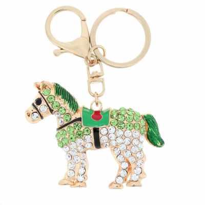 Fashional Jewelry Hollow Shinning Rhinestone Aureate Horse Pendant Key Ring Key Chain (Green)