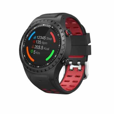 SMA-M1 Smart Watch 1.3' IPS Full Round Screen Smart Bracelet BT4.0 Heart Rate Sleep Monitoring GPS Compass Barometer Pedometer Clock Smart Timer IP65 Waterproof Multi-Sport Modes Sports Wristwatch for Android / iOS (Red)