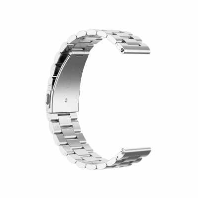 General Watch Bands Quick Release Bracelet Width Stainless Three Beads Steel Strap Wrist Replacement Watch Bands Silver 22mm (Silver)
