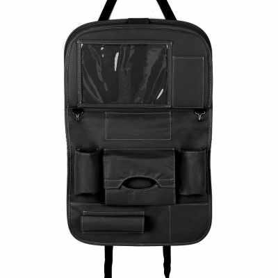 Car Backseat Organizer PU Leather Auto Back Seat Cushion for Kids Black (Black)