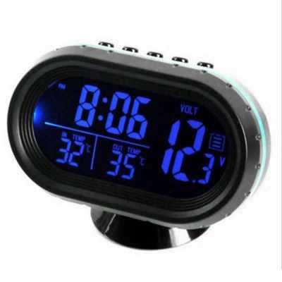 Car Thermometer Digital Clock DC 12V Automobile Clock LED Lighted Auto Dual Temperature Gauge Voltmeter Voltage Tester (Blue)