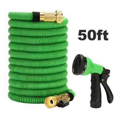 Car Garden Spray Water Gun with Expandable Hose with 6 Function Nozzle Durable Flexible Water Hose (50ft) (Green)