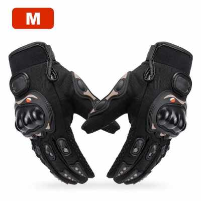 Men's Motorcycle Gloves Full Finger Motorbike for Climbing Hiking Cycling Rubber Outdoor Slow Earthquake Non-slip Glove Mountain Breathable M-XXL (Black)