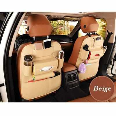 Car Seat Back Storage Bag Organizer Travel Box Pocket PU Leather Auto Accessoires (beige)