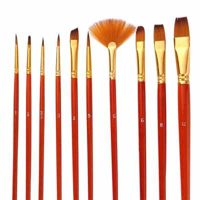 10pcs Paint Brushes Set Kit Artist Paintbrush Multiple Mediums Brushes with Nylon Hair for Artist Acrylic Aquarelle Watercolor Gouache Oil Painting for Great Art Drawing Supplies (Red)