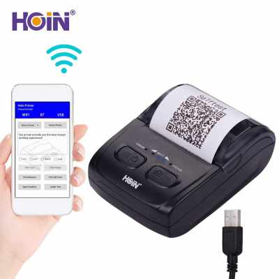 HOIN Portable 58mm Thermal Receipt Printer Handheld Barcode Printer USB BT Connection Wireless Support ESC/POS Command Compatible with Windows Linux Android IOS for Supermarket Store Restaurant (Black)