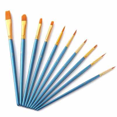 10pcs Blue Paintbrush Set Professional Art Paint Brushes Nylon Hair Wooden Handle for Artists Children Adults for Acrylic Oil Watercolor Gouache Face Nail Body Painting (Standard)